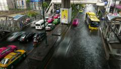Traffic conditions at heavy rainfall, crowded and empty lanes, timelapse shot Stock Footage