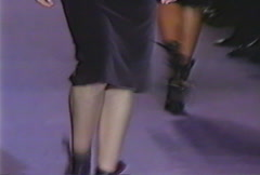 Fashion models walking on runway for Yves Saint Laurent Collection Stock Footage
