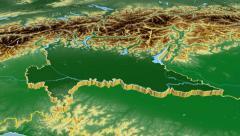 Lombardia - Italy region extruded. Bumps shaded Stock Footage