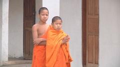 Bbuddist children in Luang Prabang, Laos - stock footage