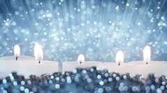 Stock Video Footage of burning candles and glitter particles seamless loop