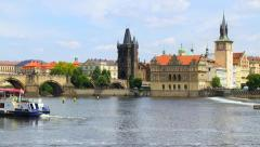 River boats near the Charles Bridge in Prague timelapse - stock footage