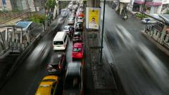 Crowded and flooded roadway, traffic jam and empty opposite side, timelapse Stock Footage