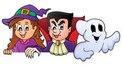 Lurking Halloween characters - eps10 vector illustration. - stock illustration