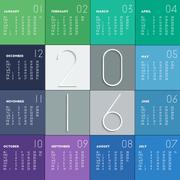 2016 calendar in flat colors - stock illustration