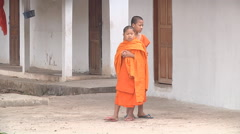 Buddist children in Luang Prabang, Laos Stock Footage