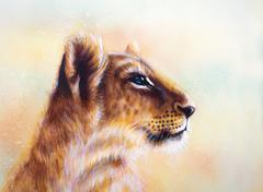Little lion cub head. animal painting on vintage paper, abstract color - stock illustration