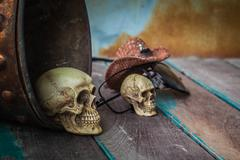 Skull in a bucket of water on wooden background. Stock Photos
