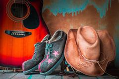 Old hat and shoes on in tourism - stock photo