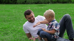 Father and son high five Stock Footage