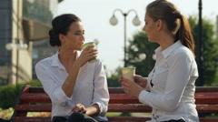 Coffee break outdoors Stock Footage