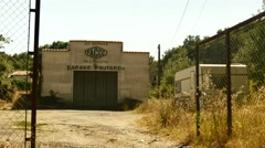 Urbex south france old garage large with entrance Stock Footage