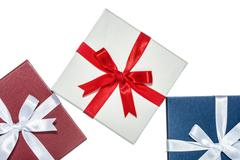 luxury color gift box for holiday event silk wrap - stock photo