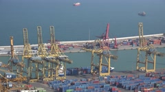 4K Aerial view industrial port Barcelona container storage crane work business  Stock Footage