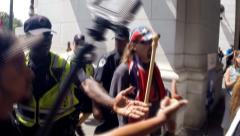 (Clip 3 of 7) Confederate flag protest and riot Stock Footage