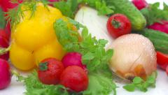 Fresh vegetables with herbs Stock Footage
