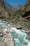 Marsyangdi river, Tibet. - stock photo