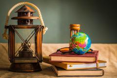 Globe and stationery Stock Photos
