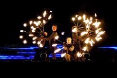 EDITORIAL: Fire Circus Walkea performing at the Lux Helsinki light arts festival Stock Photos