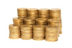 Stack of golden coins - stock photo
