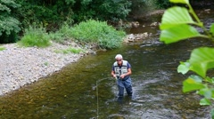 Fly-fisherman fishing in river on summer season - stock footage