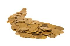 Road of golden coins - stock photo