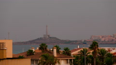 la manga sunset bay roof top panorama 4k time lapse spain - stock footage