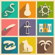 Flat with shadow concept and mobile application arabic icons Stock Illustration