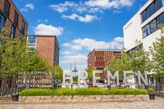 Speicherhafen / Marina Europahafen Bremen - Welcome to Bremen Stock Photos