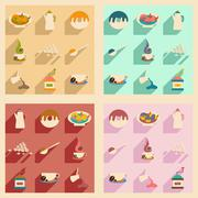 Flat with shadow concept and mobile application coffee sweets Stock Illustration