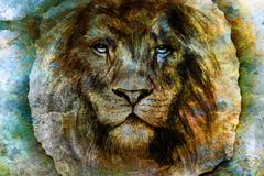 Drawing of a lion head with a majestically peaceful expression on wood abstract - stock illustration
