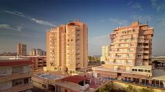 la manga sunset mediterranean sea apartment building 4k time lapse spain - stock footage
