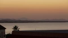 la manga mediterranean sea bay sunset panorama 4k time lapse spain - stock footage