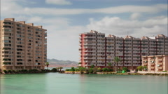 la manga city apartment gulf bay panorama 4k time lapse spain - stock footage