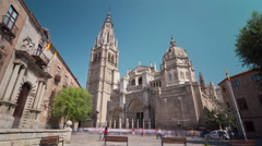 Toledo famous cathedral front square panorama 4k time lapse spain Stock Footage