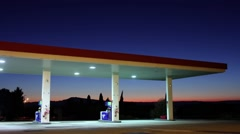 Sunset night gas station toledo province 4k time lapse spain Stock Footage