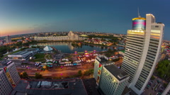 sunset light minsk city celebration center panorama 4k time lapse - stock footage