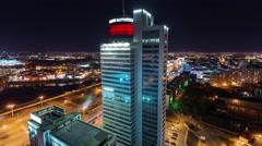 minsk city night light tallest office building 4k time lapse - stock footage