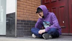 Asking charity in the street: beggar, homeless, clochard Stock Footage
