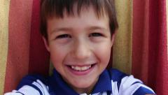 Portrait Of Happy Young Caucasian Boy Looking At Camera, Boy Smiling Stock Footage