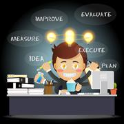 businessman with many arms working on computer with idea bulb - stock illustration