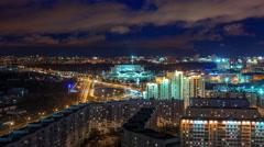 Night light minsk cityscape panorama 4k time lapse Stock Footage