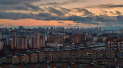 Minsk sunset cityscape roof top panorama 4k time lapse Stock Footage