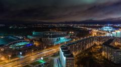Minsk night light city traffic street roof top panorama 4k time lapse Stock Footage