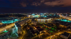 Night light roof top minsk city panorama 4k time lapse Stock Footage