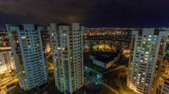 Night light minsk city apartment building roof top panorama 4k time lapse Stock Footage