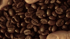 Fresh roasted coffee beans pouring out of cupped hands into a burlap sack Stock Footage