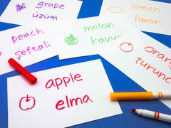 Stock Photo of Making Language Flash Cards; Turkish
