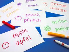 Making Language Flash Cards; German - stock photo