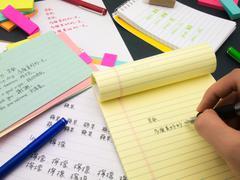 Writing New Language; Mandalin - stock photo